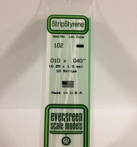"Evergreen .010"" X .040"" Pack of 10 Opaque White Polysterene Strip EVE 102"