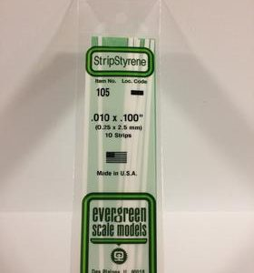 "Evergreen .010"" X .100"" Pack of 10 Opaque White Polysterene Strip EVE 105"