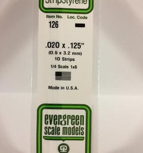 "Evergreen .020"" X .125"" Pack of 10 Opaque White Polysterene Strip EVE 126"
