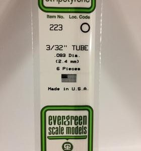 "Evergreen 3/32 .093"" Diameter Pack of 6 Opaque White Polystyrene Tube EVE 223"