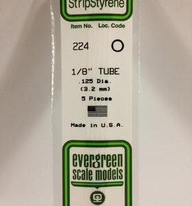 "Evergreen 1/8 .125"" Diameter Pack of 5 Opaque White Polystyrene Tube EVE 224"
