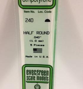 "Evergreen 0.040"" Diameter 5 Pack Opaque White Polystyrene Half Round Tube 240"