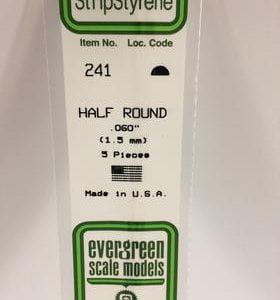 "Evergreen 0.060"" Diameter 5 Pack Opaque White Polystyrene Half Round Tube 241"