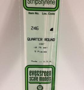 """Evergreen 0.030"""" Diameter 5 Pack Opaque White Polystyrene Quarter Round Tube 246"""