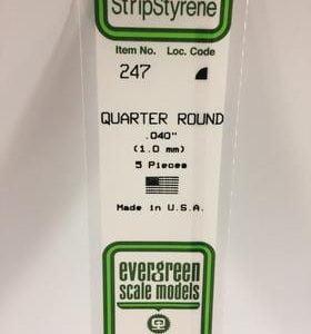 """Evergreen 0.040"""" Diameter 5 Pack Opaque White Polystyrene Quarter Round Tube 247"""