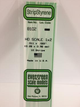 "Evergreen 011 X .022"" 10 Pack HO Scale 1x2 Opaque White Polystyrene 8102"