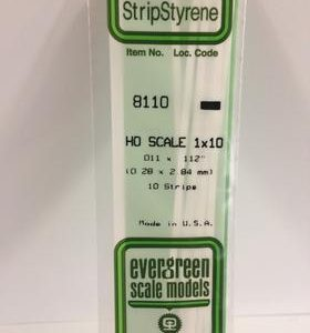 "Evergreen 011 X .112"" 10 Pack HO Scale 1x10 Opaque White Polystyrene 8110"