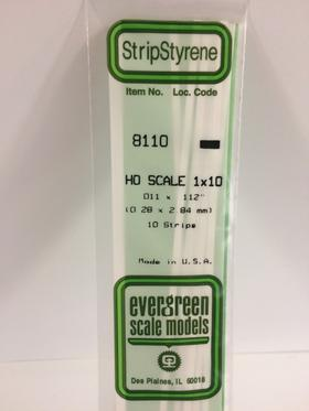 """Evergreen 011 X .112"""" 10 Pack HO Scale 1x10 Opaque White Polystyrene 8110"""