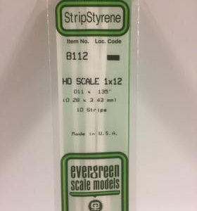 """Evergreen 011 X .135"""" 10 Pack HO Scale 1x12 Opaque White Polystyrene 8112"""