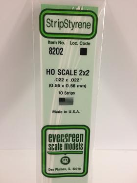 """Evergreen .022 X .022"""" 10 Pack HO Scale 2x2 Opaque White Polystyrene 8202"""