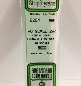 "Evergreen .022 X .043"" 10 Pack HO Scale 2x4 Opaque White Polystyrene 8204"