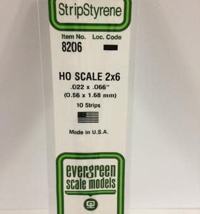 "Evergreen .022 X .066"" 10 Pack HO Scale 2x6 Opaque White Polystyrene 8206"