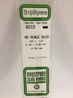 "Evergreen .022 X .112"" 10 Pack HO Scale 2x10 Opaque White Polystyrene 8210"