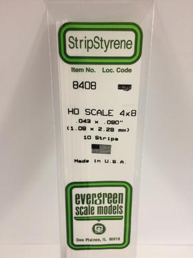 "Evergreen .043 X .090"" 10 Pack HO Scale 4x8 Opaque White Polystyrene 8408"