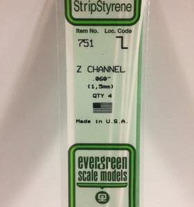 "Evergreen 0.060"" 4 Pack Opaque White Polystyrene Z channel 751"