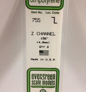 "Evergreen 0.156"" 3 Pack Opaque White Polystyrene Z Channel 755"