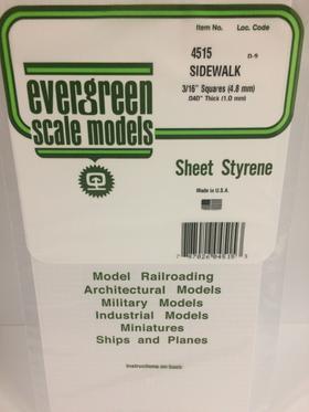 "Evergreen 3/16 x 3/16"" Opaque White Polystyrene Sidewalk 4515"