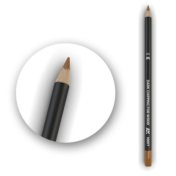 AK Interactive Watercolor Pencil Dark Chipping for wood