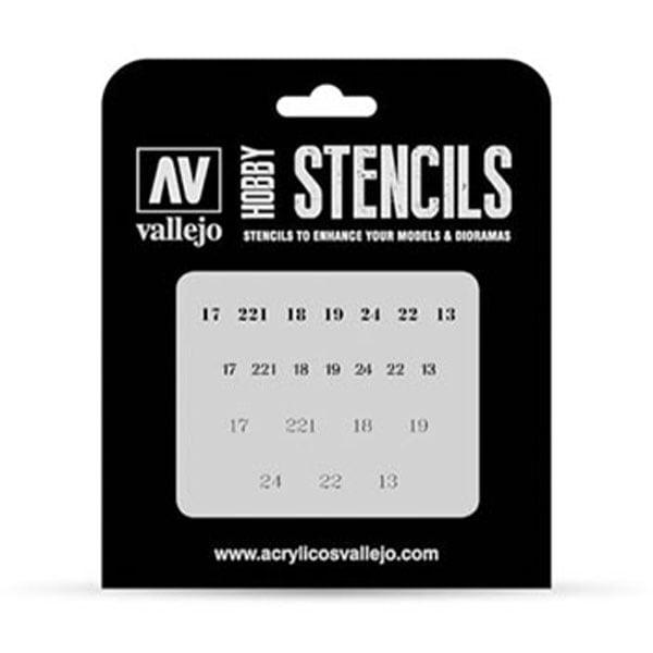 Vallejo Stencils Soviet Numbers WWII 1/35 Scale ST-AFV003