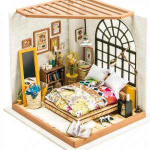 Robotime DIY Miniature Dollhouse Kit Alices Dreamy Bedroom with LED Light DG107