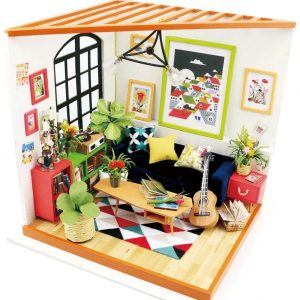 Robotime DIY Miniature Dollhouse Kit Locus's Sitting Room with LED Light DG106