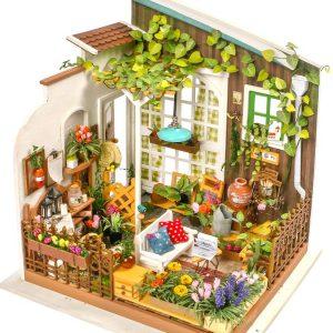 Robotime DIY Miniature Dollhouse Kit Millers Garden with LED Light DGM108