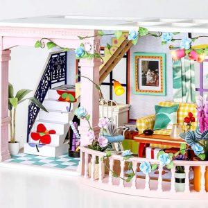 Robotime DIY Miniature Dollhouse Kit Sweet Patio with LED Light DGF01