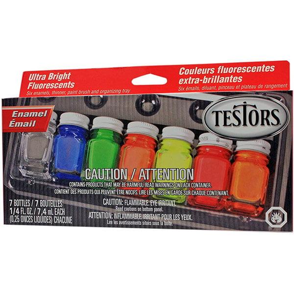 Testors Fluorescent Enamel Paint Set 6 Colors and Thinner