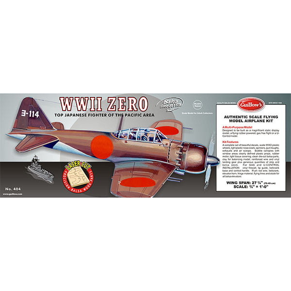 Guillows WWII Zero 28 inch Wingspan Laser Cut 404LC