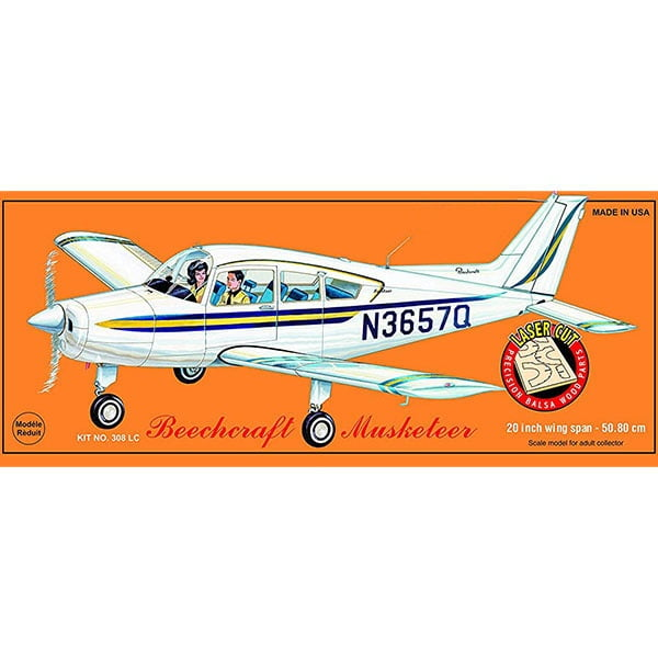 Guillows Beechcraft Musketeer 20 Inch Wingspan Laser Cut 308LC