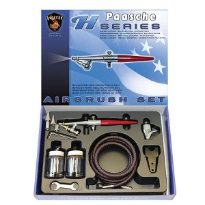 Paasche Single Action Airbrush Set with all Three Heads HS-SET