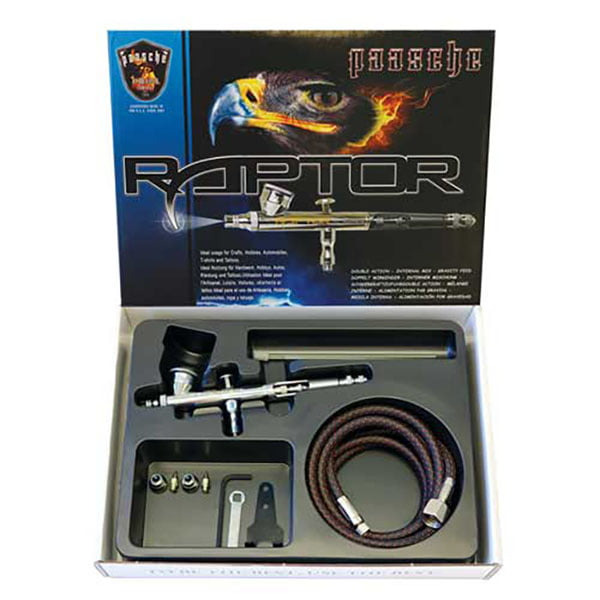 Paasche Raptor Gravity Feed Double Action Set with .25, .38 and .66mm Heads RG-3S