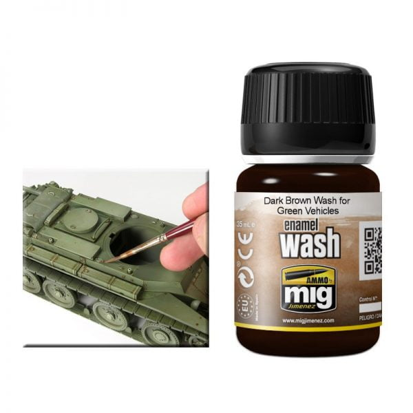 Ammo by Mig Dark Brown Wash For Green Vehicles AMIG1005