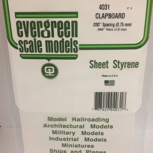 """Evergreen .040"""" Thick .030"""" Clapboard Siding Opaque White Polystyrene 4031"""