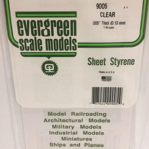 Evergreen .005″ Thick Pack of 3 Clear Polystyrene Sheet EVE 9005