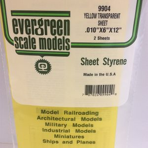 Evergreen .010″ Thick Pack of 2 Yellow Polystyrene Sheet EVE 9904