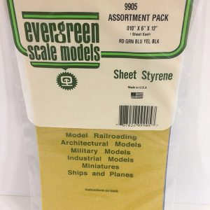 Evergreen .010″ Thick Pack of 5 Assorted Polystyrene Sheet EVE 9905