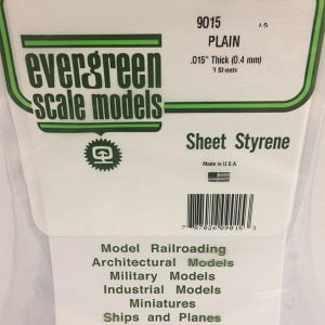Evergreen .015″ Thick Pack of 3 White Polystyrene Sheet EVE 9015