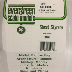 Evergreen .020″ Thick HO Scale Freight Car Siding Opaque White Polystyrene 2037