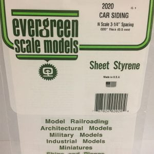 Evergreen .020″ Thick N Scale Freight Car Siding Opaque White Polystyrene 2020