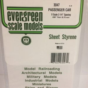 Evergreen .030″ Thick O Scale Passenger Car Siding Opaque White Polystyrene 3047