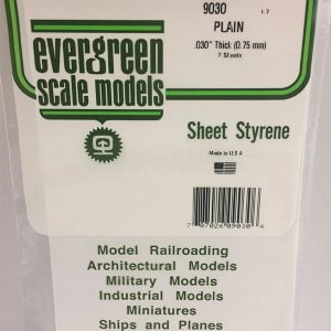 Evergreen .030″ Thick Pack of 2 White Polystyrene Sheet EVE 9030