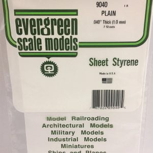 Evergreen .040″ Thick Pack of 2 White Polystyrene Sheet EVE 9040