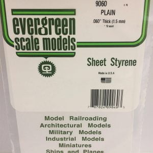 Evergreen .060″ Thick Pack of 1 White Polystyrene Sheet EVE 9060