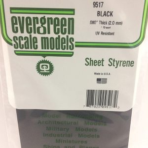 Evergreen .080″ Thick Pack of 1 Black Polystyrene Sheet EVE 9517