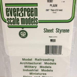 Evergreen .080″ Thick Pack of 1 White Polystyrene Sheet EVE 9080