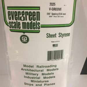 """Evergreen .020″ Thick .025"""" V-Groove Siding Opaque White Polystyrene 2025"""