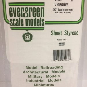 """Evergreen .020″ Thick .080"""" V-Groove Siding Opaque White Polystyrene 2080"""