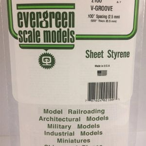 """Evergreen .020″ Thick .100"""" V-Groove Siding Opaque White Polystyrene 2100"""