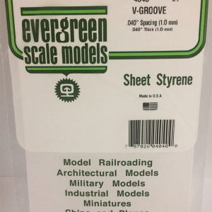 """Evergreen .040″ Thick .040"""" V-Groove Siding Opaque White Polystyrene 4040"""